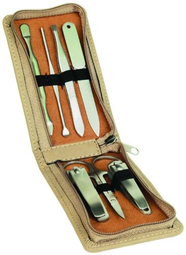 Piece Light Brown Leatherette Manicure Gift Set