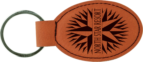 Rawhide Leatherette Oval Keychain