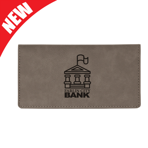Gray Leatherette Checkbook Cover