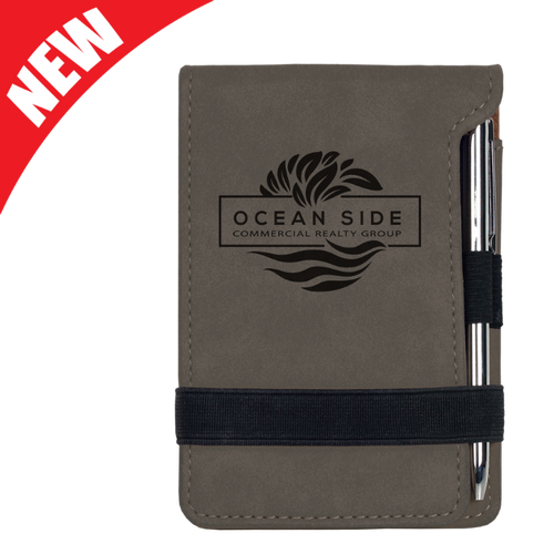 Gray Leatherette Mini Notepad & Pen