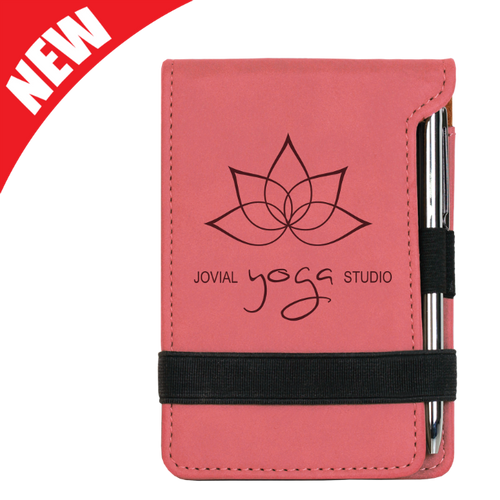 Pink Leatherette Mini Notepad & Pen