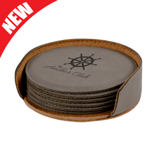 Round Gray Leatherette 6-Coaster Set