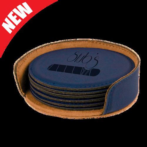 Round Blue Leatherette 6-Coaster Set
