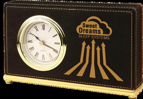 Black Leatherette Horizontal Desk Clock