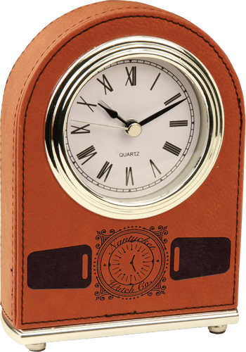 Rawhide Leatherette Arch Desk Clock