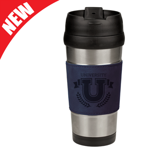 Blue Leatherette Stainless Steel Travel Mug