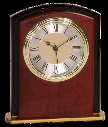 Mahogony Finish & Glass Square Arch Clock