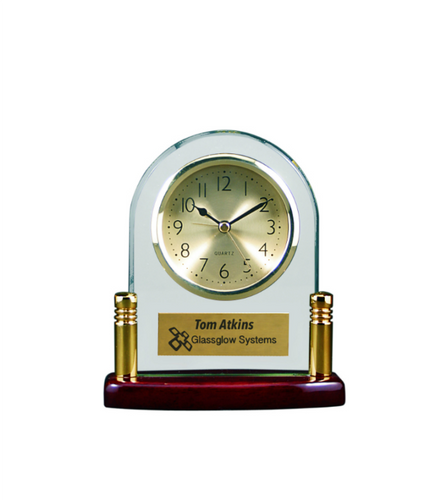 Arch Glass Clock with Posts & Rosewood Finish Base