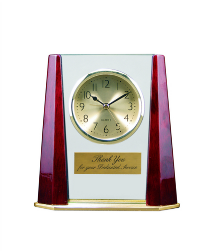Glass Clock with Rosewood Finish Bevel Columns