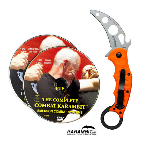 Fox 599 Orange G10 Training Karambit + Emerson Combat DVD (FX599-TK+DVD)
