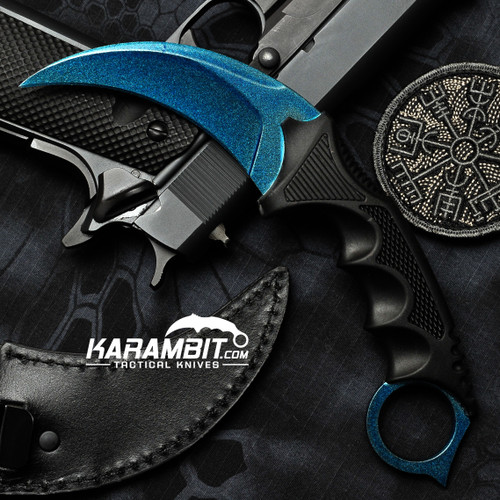 Painted Honshu Blue Steel CS GO Karambit