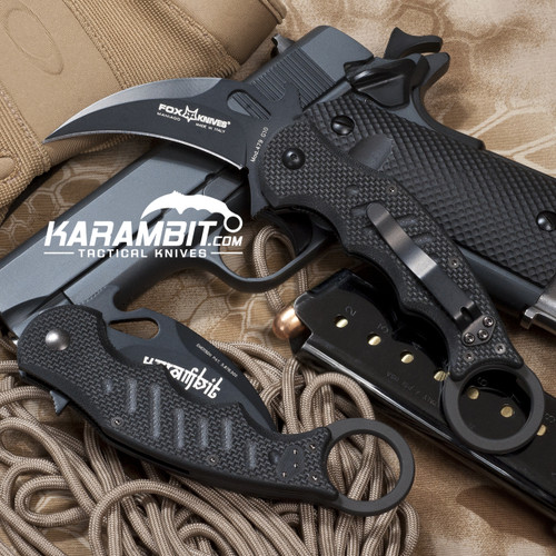 Fox 479 Black G10 Folding Karambit - Emerson Wave