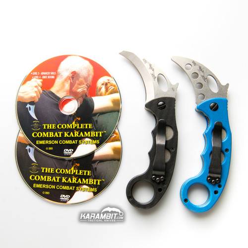 Emerson Stonewash Combat Folding Karambit and Training Karambit (EmersonSWKbit+EmrsnTrnr+DVDPkg)