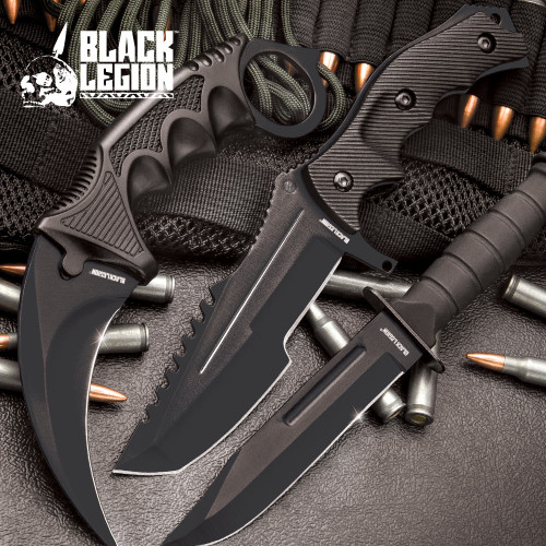 CSGO Counter Strike Black Fixed Blade Knife Set (17 BV445)