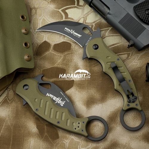 Fox 479 OD Green Karambit & DVD Training Package - 3 in 1