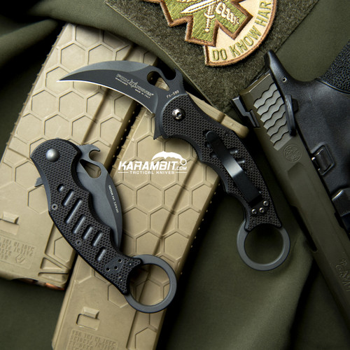 Fox 599 Black G10 Folding Karambit - Emerson Wave