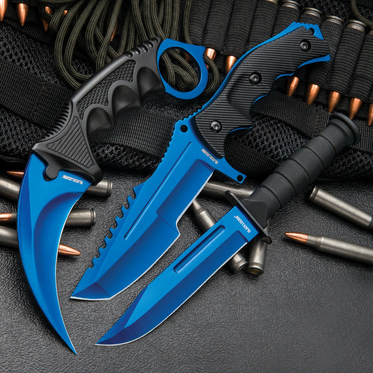 CSGO Counter Strike Blue Fixed Blade Knife Set (17 BV391)