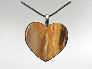 Heart Pendant - Fossil Wood