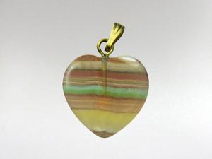 Heart Pendant 15mm - Fluorite Rainbow