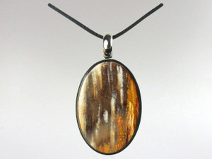 Oval Pendant - Fossil Wood