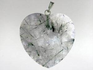 Heart Pendant 30mm - Quartz Jade