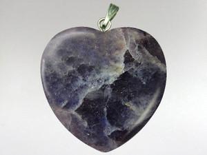 Heart Pendant 30mm - Iolite-Sunstone (Water Sapphire)