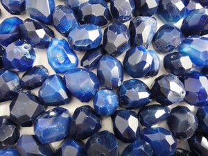 Beads Faceted - Blue Agate 100g