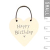 "Little Wooden Heart Tag ""Happy Birthday"""