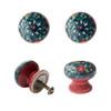 Set of 4 Floral Ceramic Door Knobs Teal