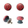 Set of 4 Floral Ceramic Door Knobs Red