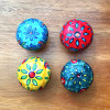 Set of 4 Floral Ceramic Door Knobs Mixed Colours