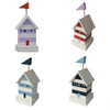 Set Of 4 Hand Painted Colourful Beach Huts