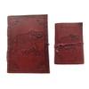 Set of 2 Leather Bound Notebooks Elephant Design