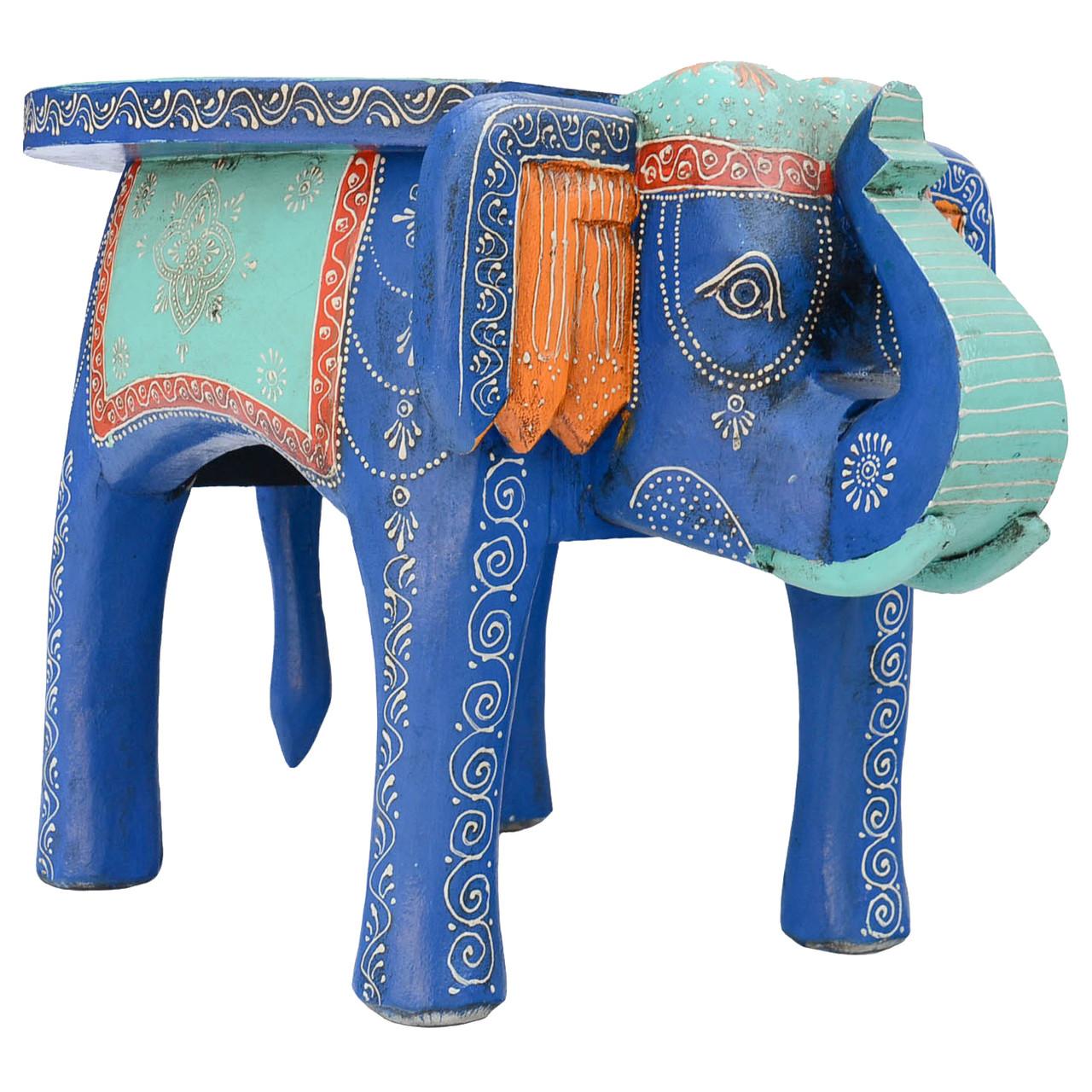 Large Painted Elephant Table Turquoise & Royal Blue - Wholesale ...