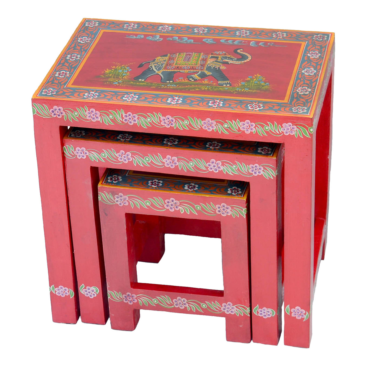 Nest of 3 Hand Painted Red Elephant Tables Fair Trade Present