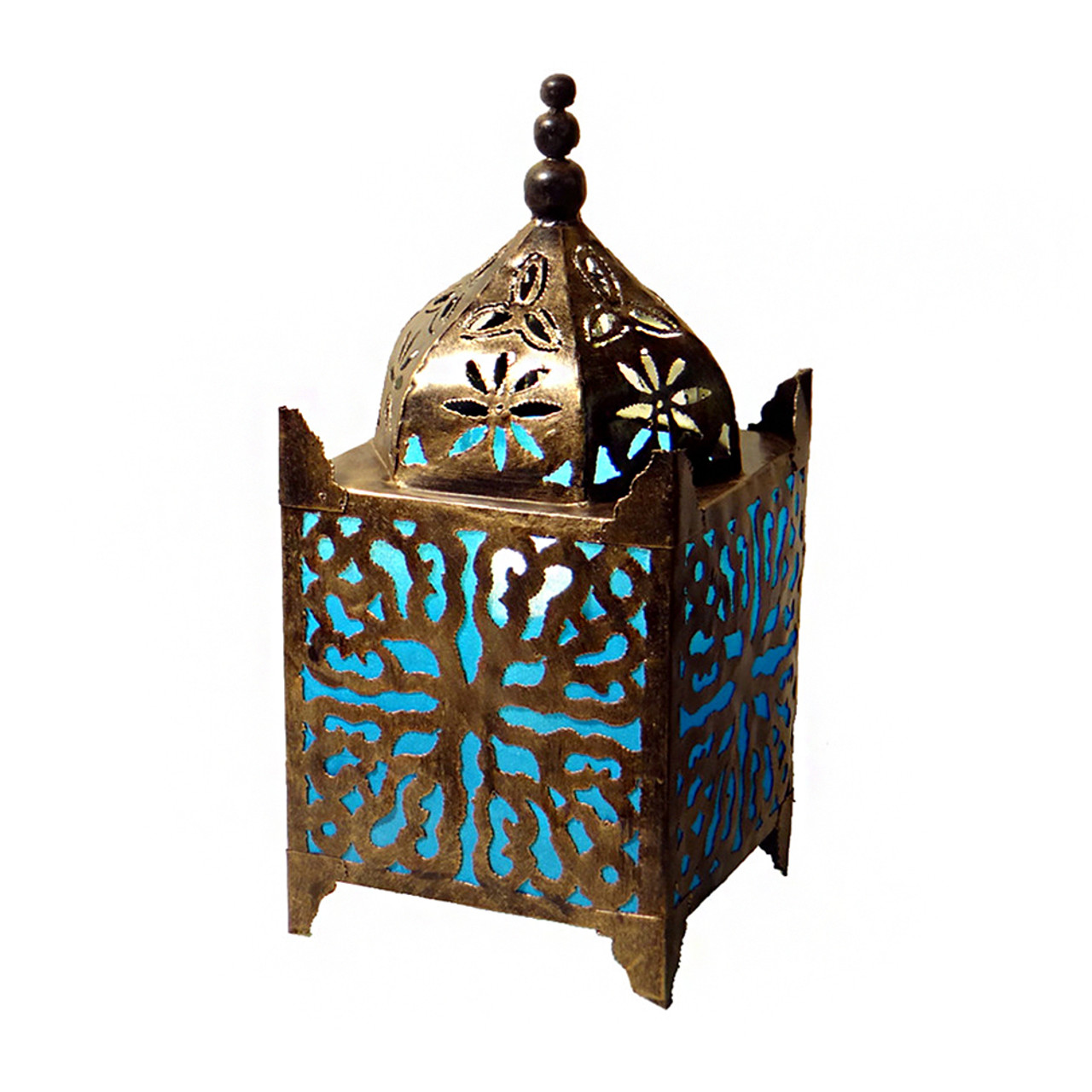 Great Turquoise Fabric Moroccan Lamp