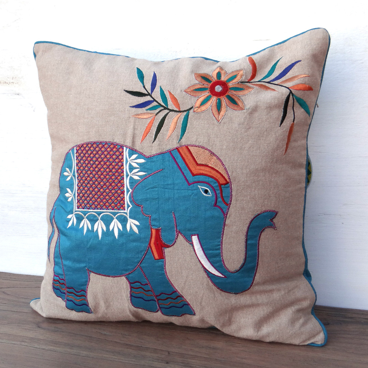 Embroidered Elephant Cushion Teal - Fair Trade   Present Company