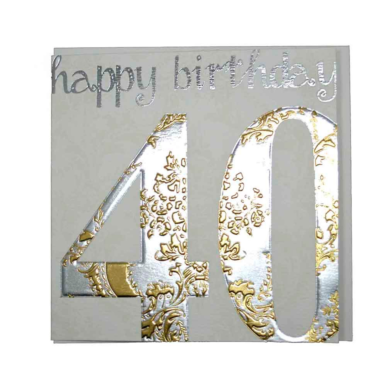 Happy 40th birthday card gold wendy jones blackett present company happy 40th birthday card gold bookmarktalkfo Images