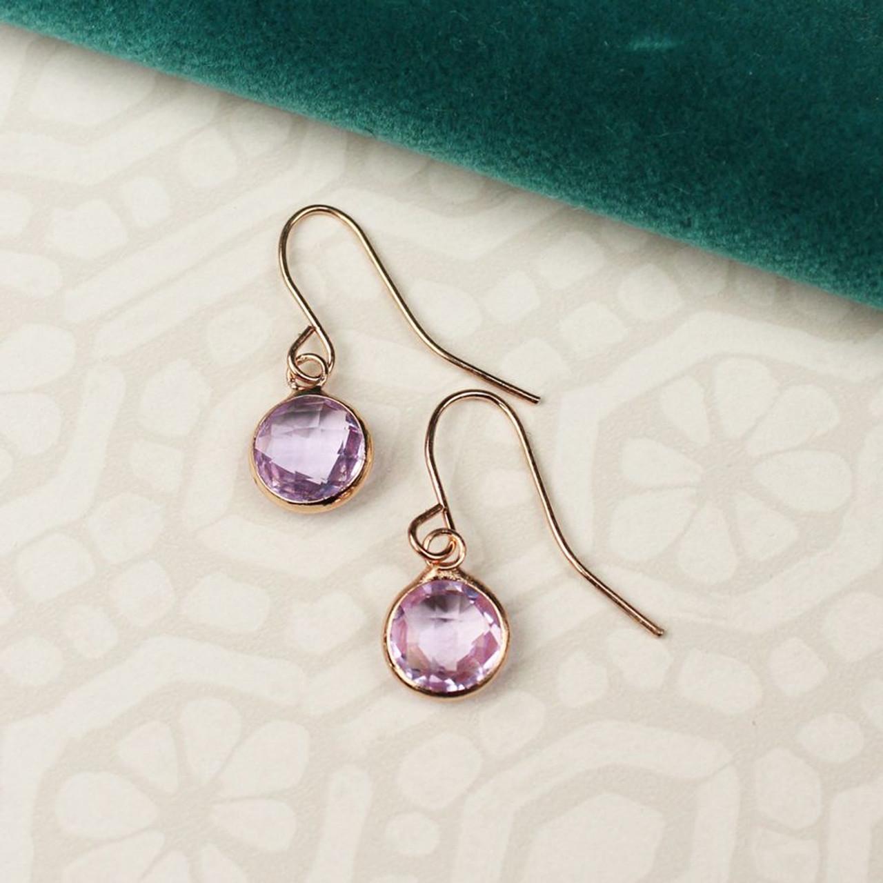 Pink Crystal Drop Earrings