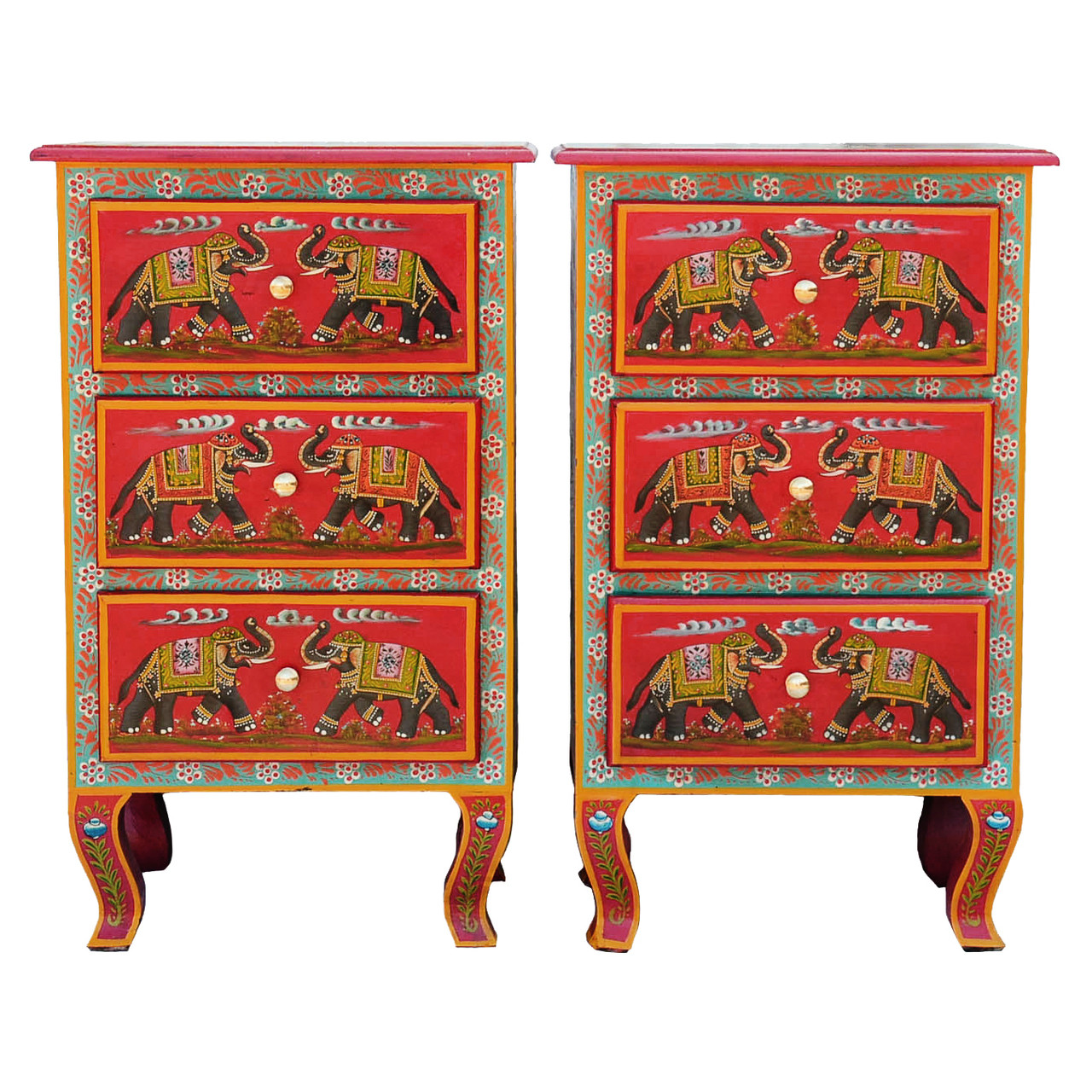 Set of 2 Bedside Cabinets 3 Drawer Red Elephant Design  sc 1 st  Present Company & Set of 2 Bedside Cabinets 3 Drawer Red Elephant Design - Fair Trade ...