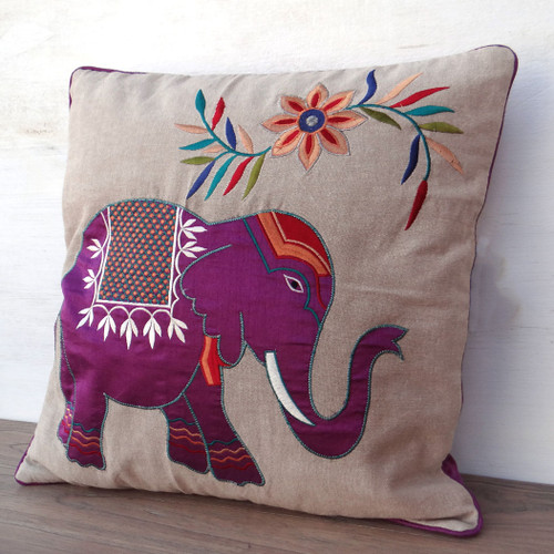 Embroidered Floral Elephant Cushion Purple