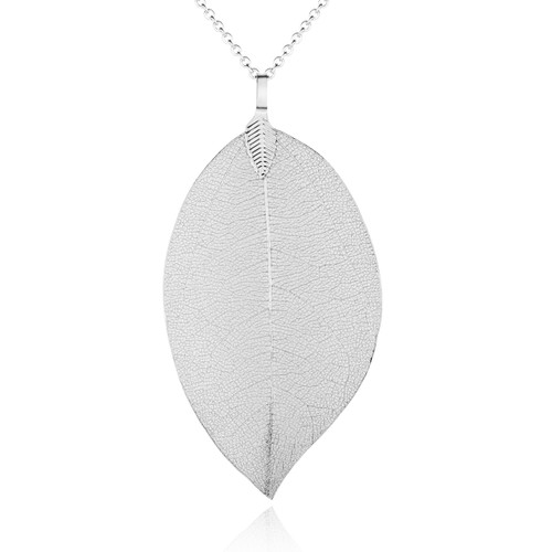 Real Leaf Silver Pendant on Chain