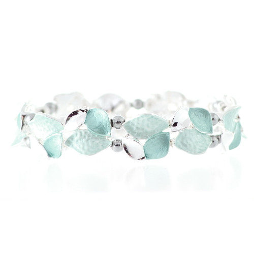 Aqua Leaves Design Magnetic Bracelet