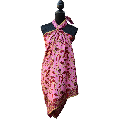 Pink Batik Printed Sarong Gold Bird Detail