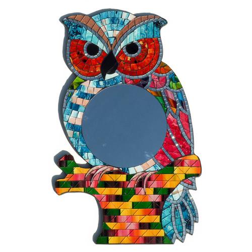 Mosaic Owl Shaped Mirror