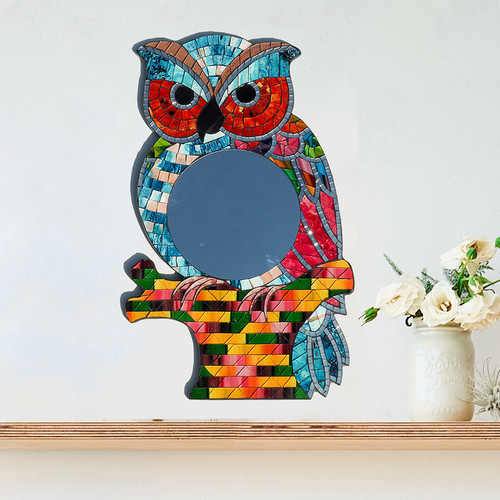 Mosaic Owl Shaped Mirror
