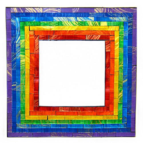 Rainbow Square Mosaic Mirror