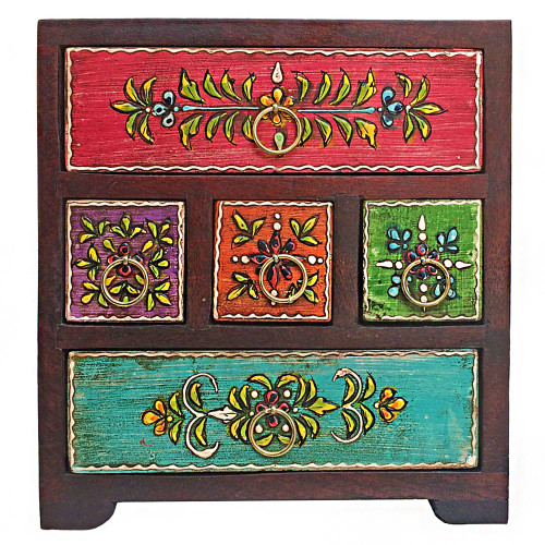 Hand Painted Five Drawer Jewellery Chest