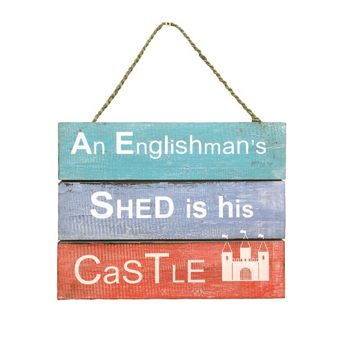 Wooden Hanging Sign 'An Englishman's Shed'