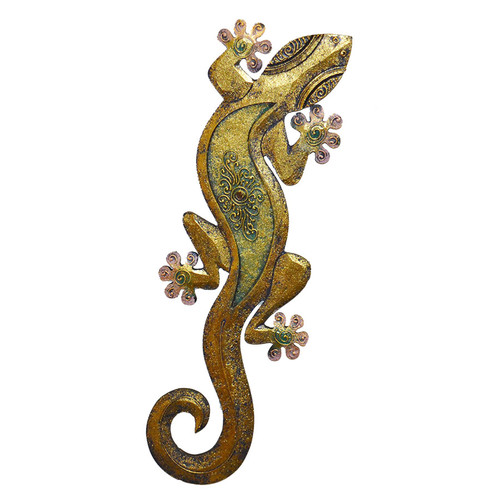 Gecko Wall Décor Gold with Pink Toes